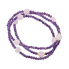 Amethyst & Pink Quartz Stretch Bracelet