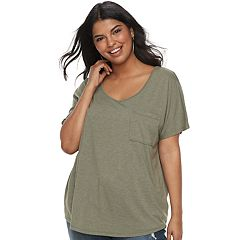 Plus Size SO® Cross Back Short Sleeve Tee