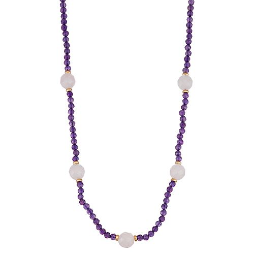Amethyst & Pink Quartz Faceted Bead Necklace