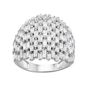 Sterling Silver Cubic Zirconia Baguette Dome Ring
