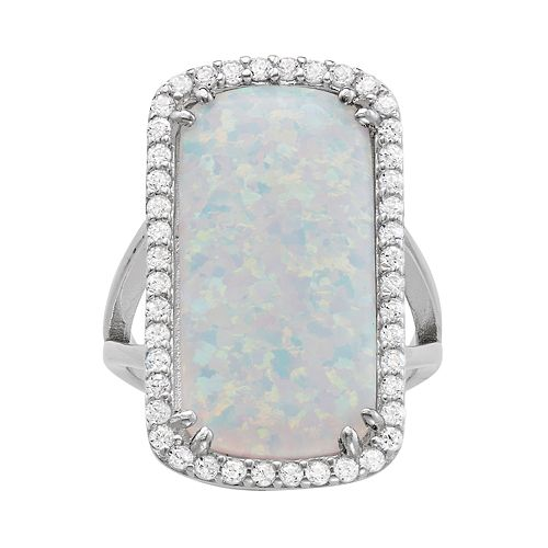 Sterling Silver Lab-Created Opal Rectangle Halo Ring