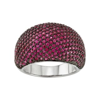 Sterling Silver Lab-Created Ruby Dome Ring