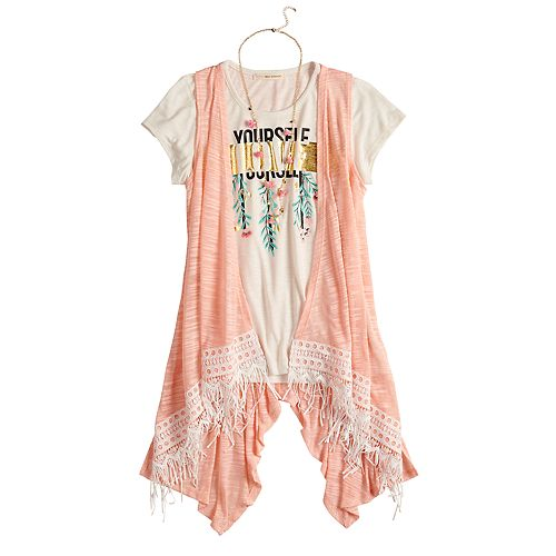 Girls 7-16 & Plus Size Self Esteem Graphic Tee Set with Vest & Necklace