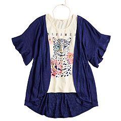 Girls 7-16 & Plus Size Self Esteem Graphic Tank Set with Kimono & Necklace