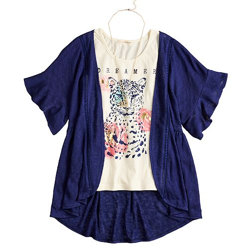 Girls 7-16 & Plus Size Self Esteem Graphic Tank Set with Kimono & Necklace