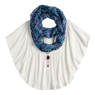 Girls 7-16 & Plus Size Self Esteem Circle Top Set with Scarf & Necklace