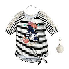 Girls 7-16 & Plus Size Self Esteem Striped Raglan Top Set with Necklace & Pom Keychain