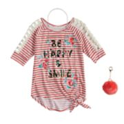 Girls 7-16 & Plus Size Self Esteem Striped Raglan Top Set with Necklace & Pom Keychain