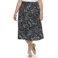 Plus Size Croft & Barrow® Smocked Challis Skirt