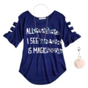 Girls 7-16 & Plus Size Self Esteem Graphic Raglan Top Set with Necklace & Pom Keychain