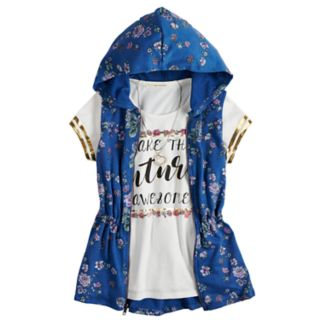 Girls 7-16 & Plus Size Self Esteem Graphic Tee Set with Hooded Vest & Necklace