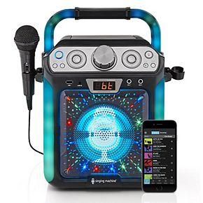 The Singing Machine Black Groove Cube Bluetooth Karaoke System