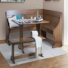 Linon Midwest Nook Dining Table 3-piece Set