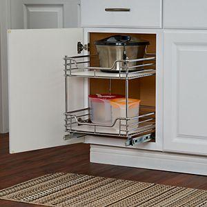 Household Essentials Design Trend Standard Depth 2-Tier 14.5-inch Wide Sliding Under Cabinet Organizer