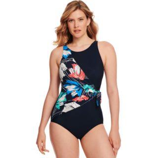 Women's Croft & Barrow® Swimshaper Waist-Minimizer Floral Overlap One-Piece Swimsuit