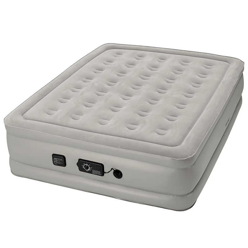 Insta-Bed Raised Never Flat 19-inch Queen Airbed, Grey Create extra sleeping space in your home or on-the-go with this comfortable Insta-Bed Never Flat air mattress. In gray. Never Flat technology maintains air pressure & eliminates sagging Auto-engaging, whisper-quiet air pump Choose your desired comfort level: plush, medium or firm Powerful, integrated primary pump inflates the bed Secondary pump continuously monitors pressure & senses when it needs to engage in order to maintain your chosen comfort level Circular coil construction with vertical & horizontal reinforcement provides support & comfort Sueded top Fits standard queen sheets Raised 19  thickness makes getting in & out of bed easier Carry bag & repair kit 60  x 80  PVC Spot cleanAC power plug Manufacturer's 1-year limited warrantyFor warranty information please click here Color: Grey. Material: Polyester.