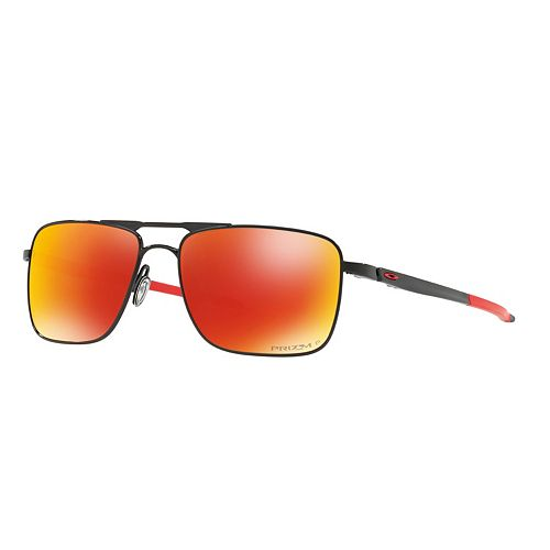 6fa05461d4 Oakley Gauge 6 OO6038 57mm Titanium Prizm Ruby Square Polarized Mirror  Sunglasses