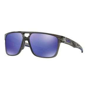 Oakley Crossrange Patch OO9382 60mm Rectangle Violet Iridium Mirrored Sunglasses