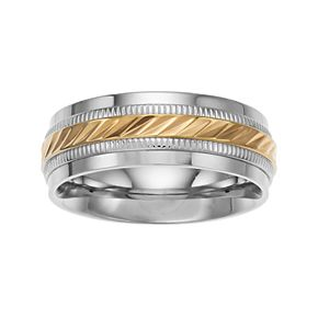 Two Tone Stainless Steel Wave Wedding Band - Men