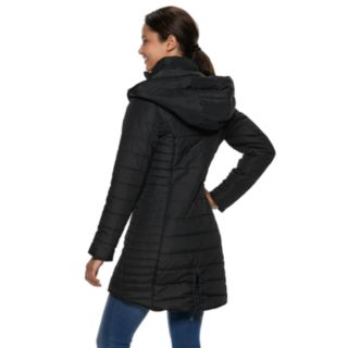 Juniors' Maralyn & Me Quilted Hooded Puffer Jacket