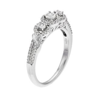 Everlasting Diamonds 10k White Gold 1/4 Carat T.W. Diamond 3-Stone Ring
