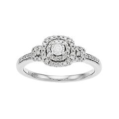 Everlasting Diamonds 10k White Gold 1/4 Carat T.W. Diamond Square 3-Stone Ring