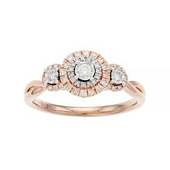 Everlasting Diamonds 10k Rose Gold 1/3 Carat T.W.  Diamond 3-Stone Ring
