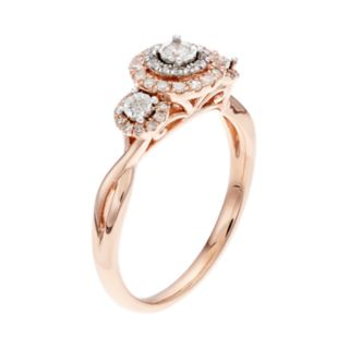 Everlasting Diamonds 10k Rose Gold 1/3 Carat T.W.  Diamond 3-Stone Ring