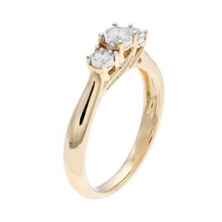Everlasting Diamonds 10k Gold 1/5 Carat T.W. Diamond 3-Stone Ring