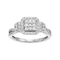 Everlasting Diamonds 10k White Gold 1/2 Carat T.W. Diamond Square Cluster Ring