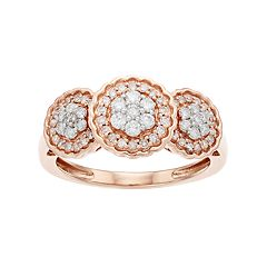 Everlasting Diamonds 10k Rose Gold 1/2 Carat T.W. Diamond 3-Stone Cluster Ring