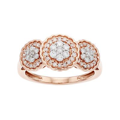Everlasting Diamonds 10k Rose Gold 1/2 Carat T.W. Diamond 3-Stone Cluster Ring