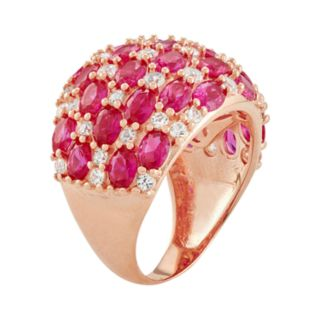 14k Rose Gold Over Silver Lab-Created Ruby & Lab-Created White Sapphire Dome Ring