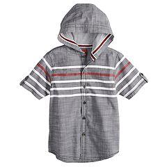 Boys 8-20 Slub Fil-A-Fil Hooded Button-Down Shirt