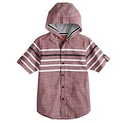 Boys 8-20 Slub Fil-A-Fil Hooded Button-Down Shirt