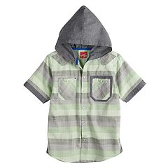 Boys 8-20 Crosshatch Chambray Hooded Button-Down Shirt