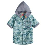 Boys 8-20 Push Through Poplin Hooded Button-Down Shirt