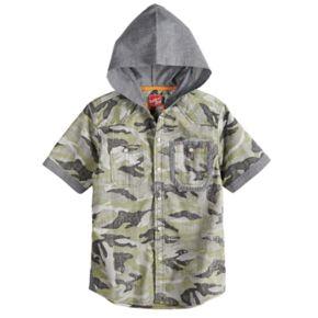 Boys 8-20 Push Through Poplin Hooded Button-Down Shirt