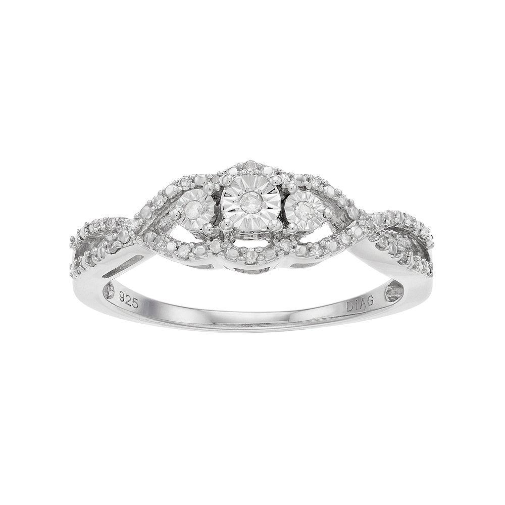 Everlasting Diamonds Sterling Silver 1/10 Carat T.W. Diamond Tiered 3-Stone Ring