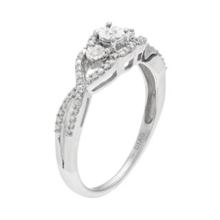 Everlasting Diamonds Sterling Silver 1/10 Carat T.W. Diamond Tiered 3-Stone Ring