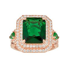 14k Rose Gold Over Silver Simulated Emerald & Lab-Created White Sapphire Halo Ring