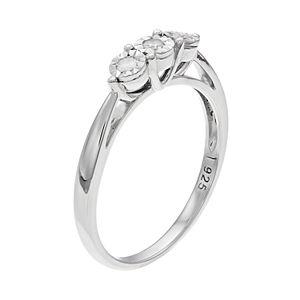 Everlasting Diamonds Sterling Silver 1/10 Carat T.W. Diamond 3-Stone Ring
