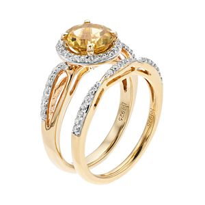 14k Gold Over Silver Citrine & Lab-Created White Sapphire Halo Engagement Ring Set