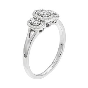 Everlasting Diamonds Sterling Silver 1/6 Carat T.W. Oval 3-Stone Ring
