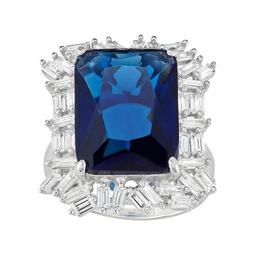 Sterling Silver Simulated Sapphire & Lab-Created White Sapphire Cluster Ring
