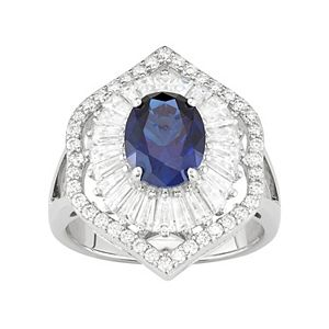Sterling Silver Lab-Created Blue & White Sapphire Baguette Halo Ring