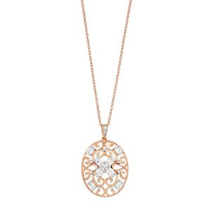 Lab-Created White Sapphire 14k Rose Gold Over Silver Filigree Pendant Necklace