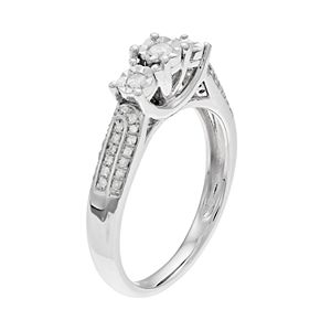 Everlasting Diamonds Sterling Silver 1/4 Carat T.W. Diamond 3-Stone Ring