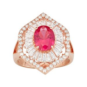 14k Rose Gold Over Silver Lab-Created Ruby & White Sapphire Baguette Halo Ring