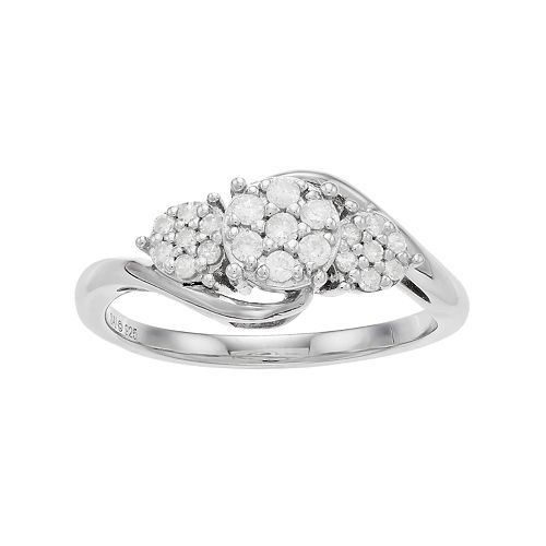 Everlasting Diamonds Sterling Silver 1/4 Carat T.W. Diamond 3-Stone Cluster Ring